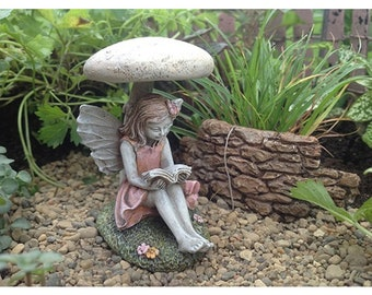 Fairy Carrissa - Sitting Under Mushroom - Miniature Fairy Garden Supply