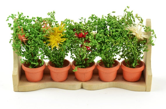 Miniature Flower Box With Wild Flowers In Pots Miniature Etsy