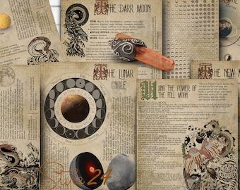 Book of Shadows, Printable Lunar Cycle, BOS Sheets, Moon Phases, Lunar Calendar 2021, Witchcraft, digital download, pagan, full moon magic,