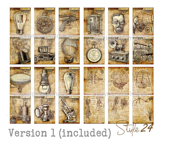 Bundle 24 Large Printable Steampunk