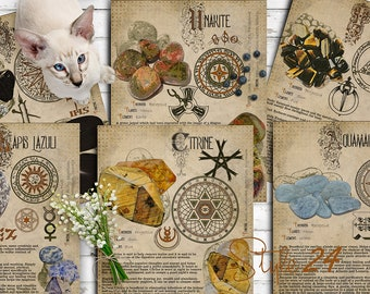 Book of Shadows, Printable pages of Crystals and Minerals, Witchcraft, BOS Sheets, Magic Potion, Spell Ingredient, Witch encyclopedia 5 DIY