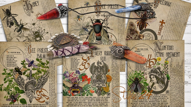 Magick Potions 4 - Bees , Witchcraft, Printable, Book of Shadows, Herbal,  Grimoire, BOS, Digital Download, Spell, Magic, Green Witch DIY