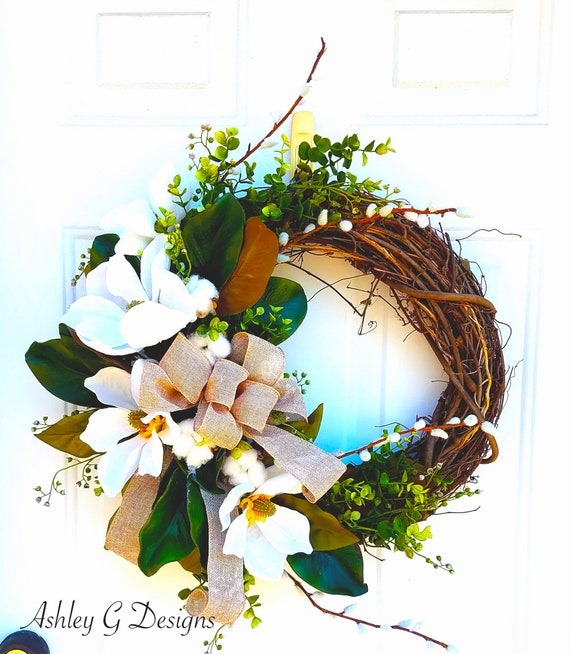 Magnolia Wreaths For Front Door Everyday Wreath Summer Etsy