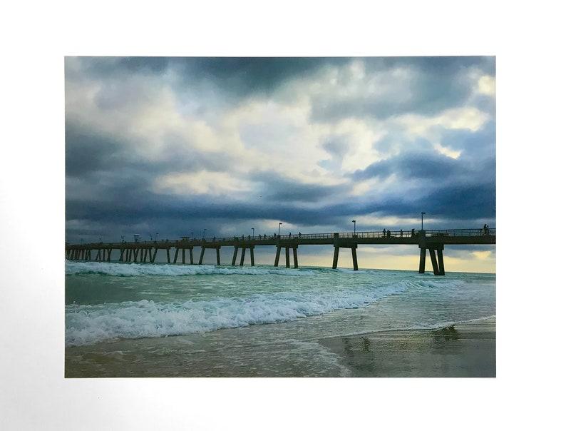 Stormy Sky, Ocean Pier, Waves Crashing, Beach Art, Florida, Dramatic Sea  Print, Ocean Landscape, Nature Fine Art Photography, Coastal Sunset