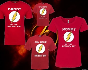 Flash Superhero Matching Birthday T Shirt Boy Or Birday Girl Custom With Names For Adults Youth Toddlers