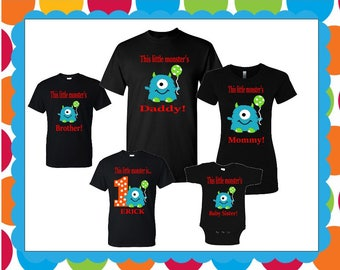 daca7288 Little monster birthday matching family T-shirts / custom made monster  family T-shirts birthday boy – girl for all ages adults – youth-todd