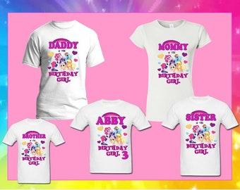 0940d2091 My Little Pony birthday girl matching birthday T-shirt, family custom with  names for adults- youth- toddlers pony unicorn princess