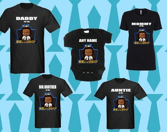 3b8d177df Boss Baby boy matching birthday T-shirt, King boss baby birthday boy custom  with names for adults- youth- toddlers
