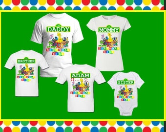 Plaza Sesame Street Matching Family Elmo Birthday T Shirt Boy Or Birday Girl Custom With Names For Adults Youth Toddlers New