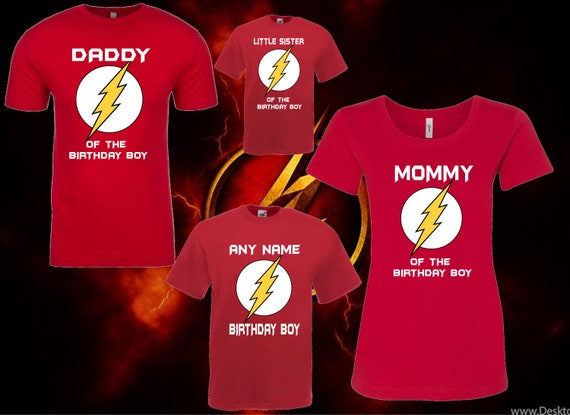 Flash Superhero Matching Birthday T Shirt Boy