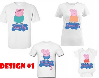 Peppa pig birthday matching family T-shirts / custom made Disney family T-shirts birthday boy –  girl for all ages adults – youth-toddlers -