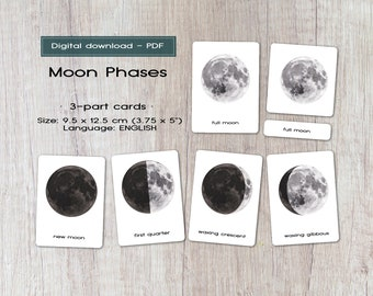 Moon phases Printable 3-part cards, Montessori, Digital download, astronomy activity, Space