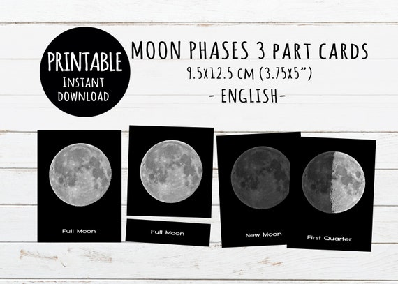 photograph about Printable Moon Phases referred to as Moon stages Printable 3-section playing cards, Montessori toys, Electronic down load