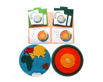 Layers of the Earth puzzle, Hemisphere felt map, Montessori 3-part cards, Homeschool materials