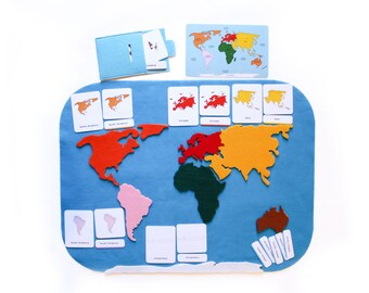 Small felt world map with 3-part cards, Montessori materials, geography activity, classroom, educational toy