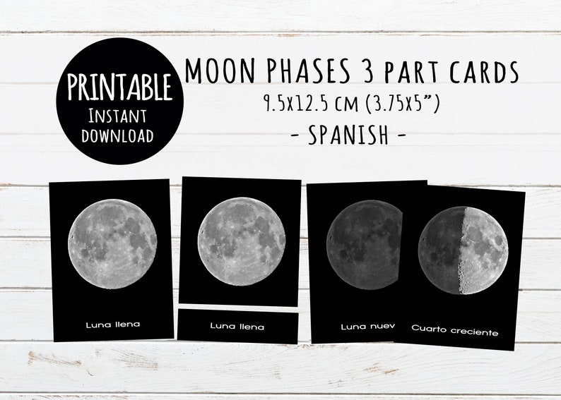 photograph about Moon Phases Printable named SPANISH Moon levels, Printable 3-Section Playing cards, Montessori toys, Electronic obtain, fases de la luna