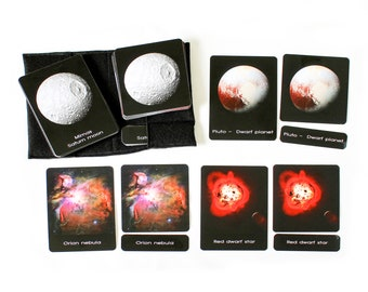 20 Astronomical bodies and objects, 3-part cards, Astronomy, Montessori materials, Space birthday gift