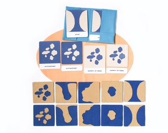 Land and water forms felt boards with 3-part cards, Montessori materials, Geography, homeschooling