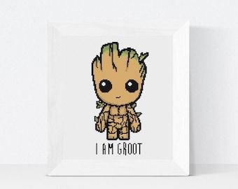 I Am Groot Crossstitch, Guardians Of the Galaxy Crossstitch Pattern, PDF Download