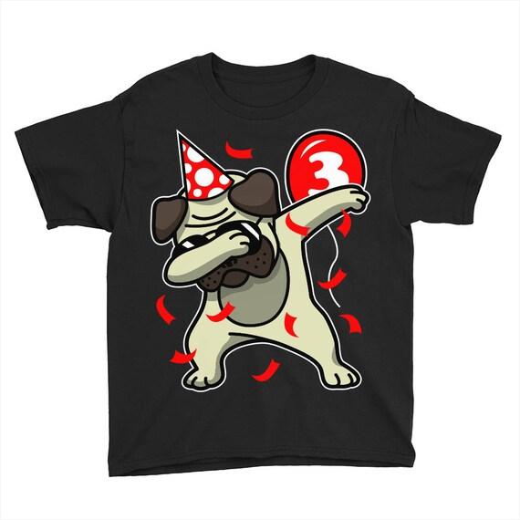 3rd Birthday Dabbing Pug Custom Kids Shirt Personalize 3