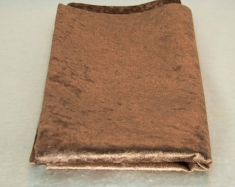 Brown velvet fabric by the yard / Brown upholstery fabric / Copper velvet fabric by yard / Throw pillow fabric  / Brown home decor fabric