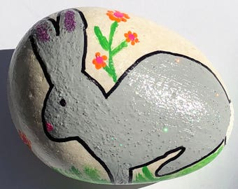 Easter Bunny Hand Painted Rock