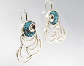 Sterling Silver Earrings Turquoise Inlay - BR56T