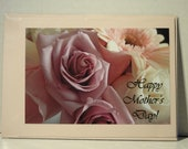 Mother's Day Card, Blank Inside, Pink and Purple Roses, Pink Card Stock