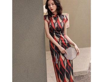 c9cac6210 Fashionable Red Diamond Cheongsam Dress Qipao Evening Sexy Dress Woman  Daily Cheongsam Qipao Female Qipao Dress