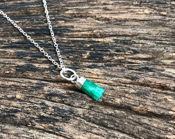 Green emerald pendant on silver cap- silver chain - silver necklace emerald   crystal - natural emerald - raw emerald necklace- May gift