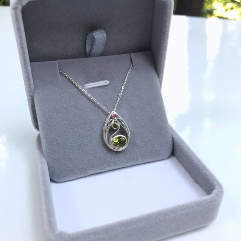 natural ruby one of the kind Special designed swan pendant handmade jewelry natural peridot