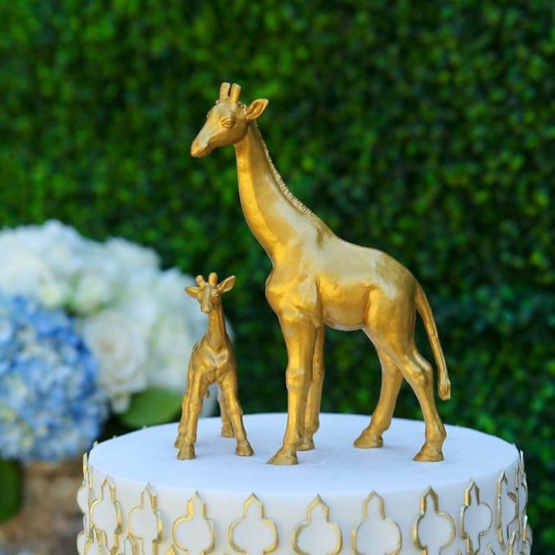 Mother /& Baby Set of 2 Gold Giraffe Cake Topper