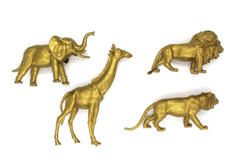 Wild One Birthday Party Glam Baby Shower Gold Safari Animal Centerpiece Set