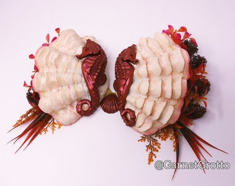 """Pre-Made: """"Romantic Seahorses"""" over Fluted Clam Shells, Silicone Mermaid Top. 36 B. (California Mermaid Convention- Exclusive)."""