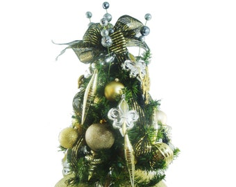 tabletop christmas tree gold decorated christmas tree elegant christmas centerpiece 25 lighted tree office tree small christmas tree