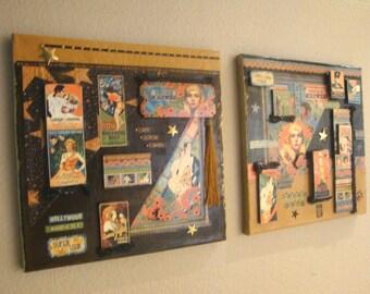Vintage Hollywood Canvas, Hollywood Mixed Media Canvas, Collage Art Canvas Set, Vintage Hollywood Canvas Art, Hollywood Assemblage Canvas
