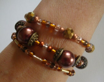 Stretch Bead Bracelets, Gold Bead Bracelets, Stretch Bracelet Set, Layered Bead Bracelets, Brown Bead Bracelet Stack, Copper Bead Bracelets