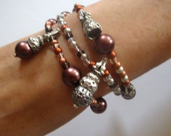 Stretch Bead Bracelets, Beaded Charm Bracelets, Silver Bead Bracelets, Layered Bead Bracelets, Beaded Bracelet Stack, Copper Bead Bracelets