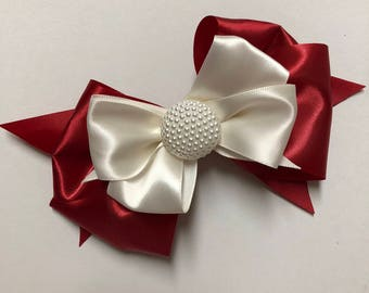 "6"" Crimson and Cream Silk Bow with Pearl centerpiece"