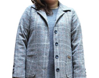Beige Single Plaid Long Trench Button Coat