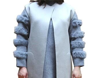 Wool Open Front Long Cardigan Sweater Vest Pocket