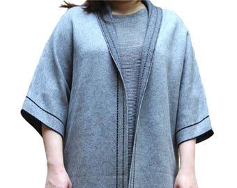 Dark Gray Wool Light Weight Open Front Long Cardigan Oversized Sweater