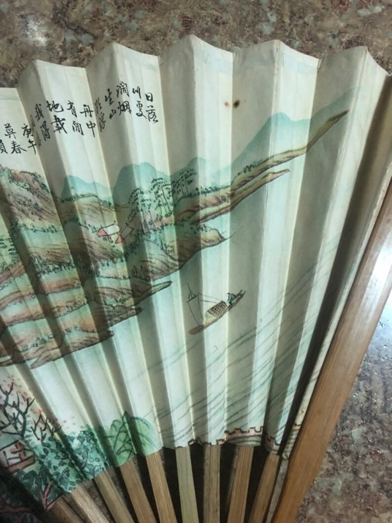 1960S Oriental Paper Bamboo Fan