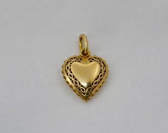 Vintage 18 ct.gold French heart pendant