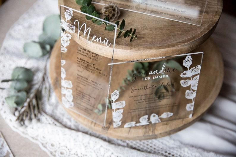 10 pieces acrylic glass Save-the-Date Eucalyptus 190202