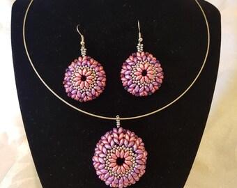 Mandala Beaded Pendant/Choker Earring Set