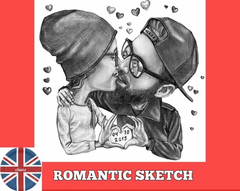 Romantic Cartoon Pencil Sketch Couple Etsy