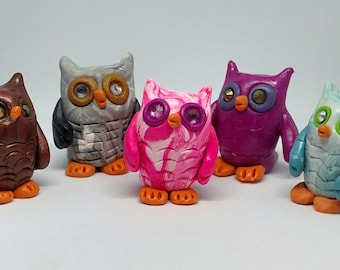 Beautiful Wise Owls your choice of Different Colors Polymer Clay Sculpture