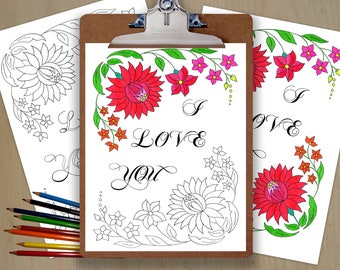 Printable I LOVE YOU coloring page / pdf / DIY gift for him / gift for her / adult coloring / letter paper / Valentines day gift