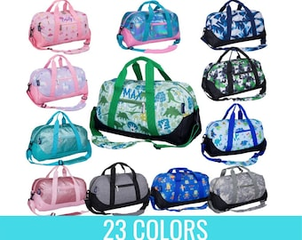 Monogrammed Duffle Bags for Kids - Personalized Childrens Travel Bag Suitcase - 13 Colors